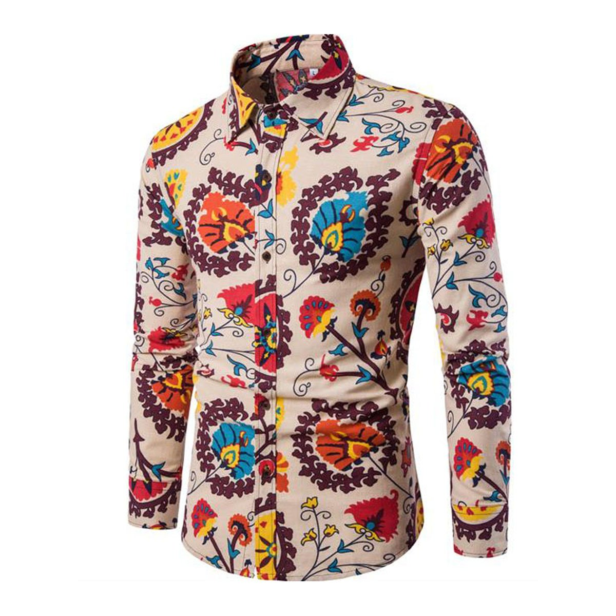 Retro Clothing for Men | Vintage Men's Fashion Allthemen Mens Dress Shirts Long Sleeve Funky Printed Linen Shirt Casual Shirt Fancy Floral Tops Unique Pattern £15.99 AT vintagedancer.com