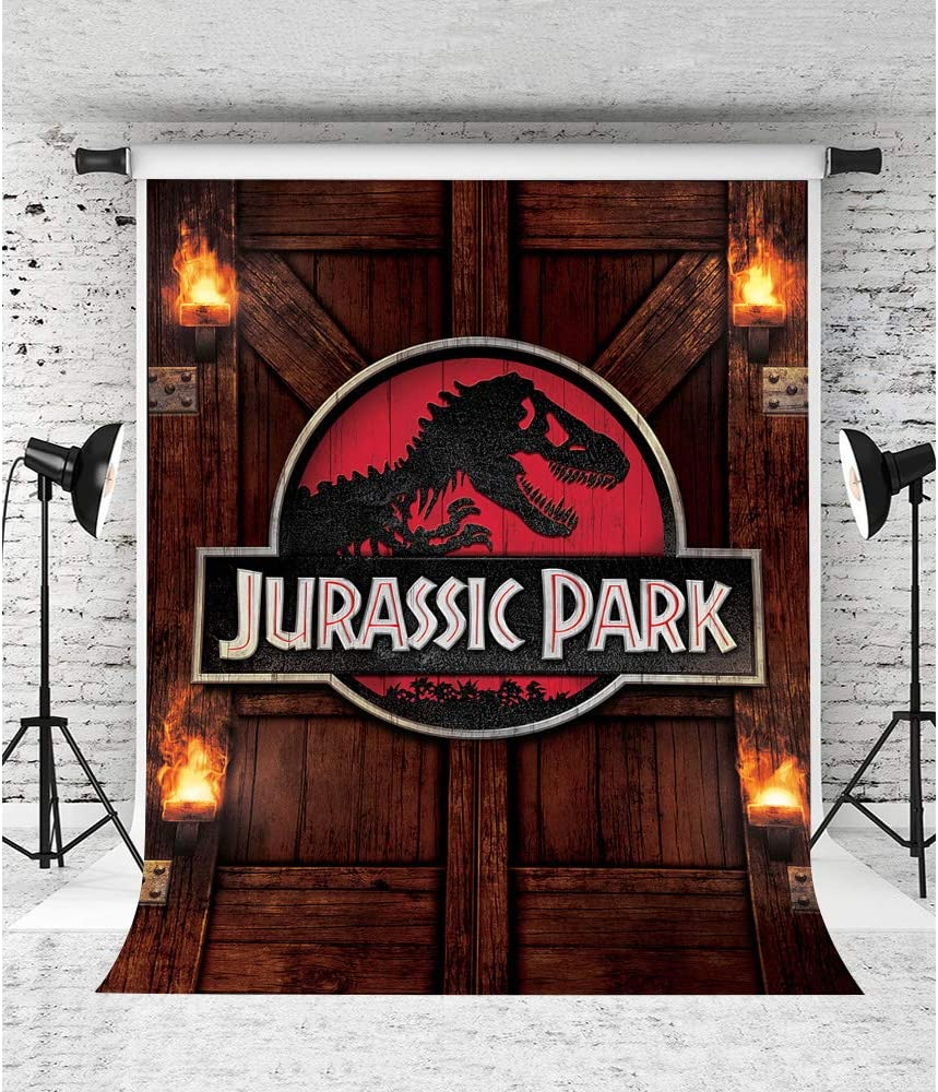 Rustic Wooden Door Dinosaur Backdrop for Dino Party Jurassic Park Background 5x7ft Photo Booth Banner for Cake Table Supplies ZYVV0736