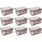 Kuber Industries™ Polka Dots Designer Saree Cover/Regular Cloth Bag/Wardrobe Organiser Set of 9 Pcs (Ivory)