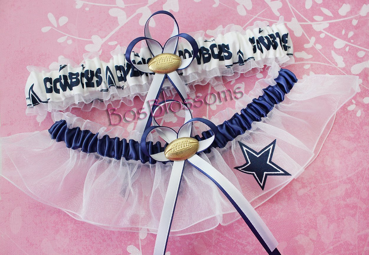 Customizable - Dallas Cowboys navy & white fabric handmade into bridal prom white organza wedding garter set with football charm