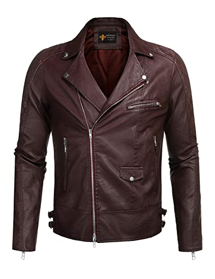 070148b9f3de9 COOFANDY Men s Police Style PU Leather Motorcycle Zipper Biker Jacket
