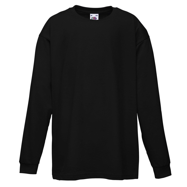 Black t shirt long sleeve - Fruit Of The Loom Childrens Kids Long Sleeve Cotton Value T Shirt T Shirt Tee Shirt Amazon Co Uk Clothing