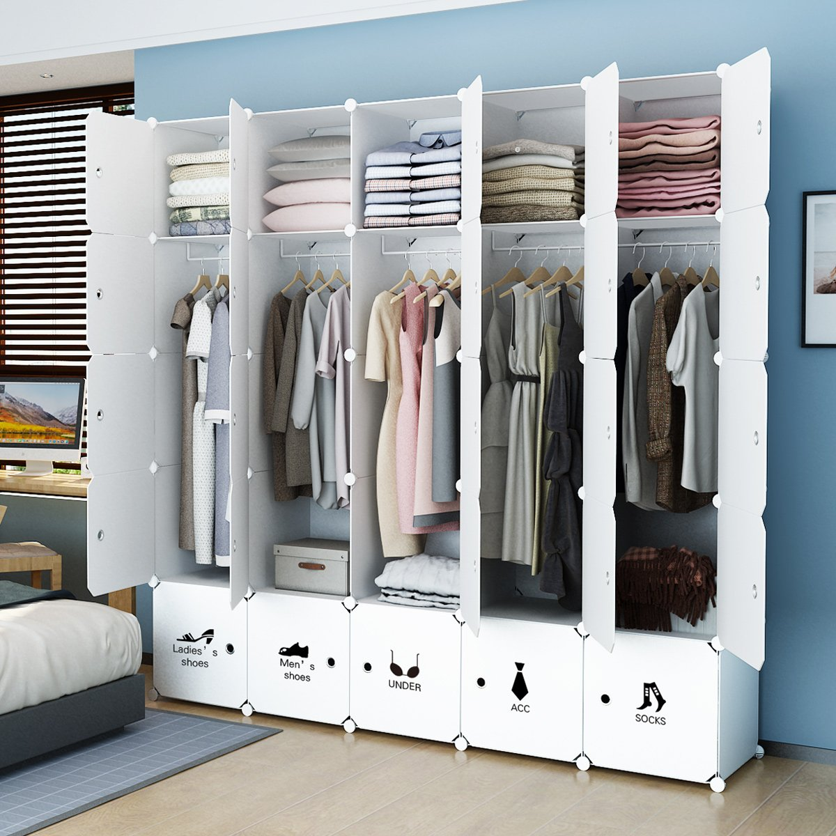KOUSI Portable Closet Clothes Wardrobe Bedroom Armoire Storage Organizer with Doors, Capacious & Sturdy. 25 cube White