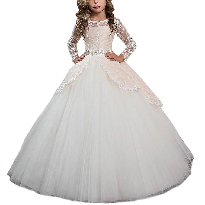 HotGirls Elegante mangas largas encaje flor vestidos primeros vestidos de comunión(10)