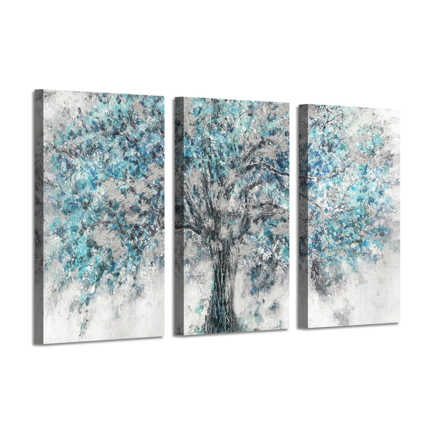 Abstract Artwork Landscape Wall Art: Blooming Lonely Beautiful Autumn Tree Prints on Wrapped Canvas Set for Home Decor