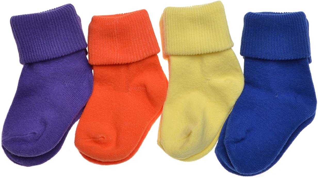 4 pairs of Plain Bright Colours Baby Socks Roll Top Socks