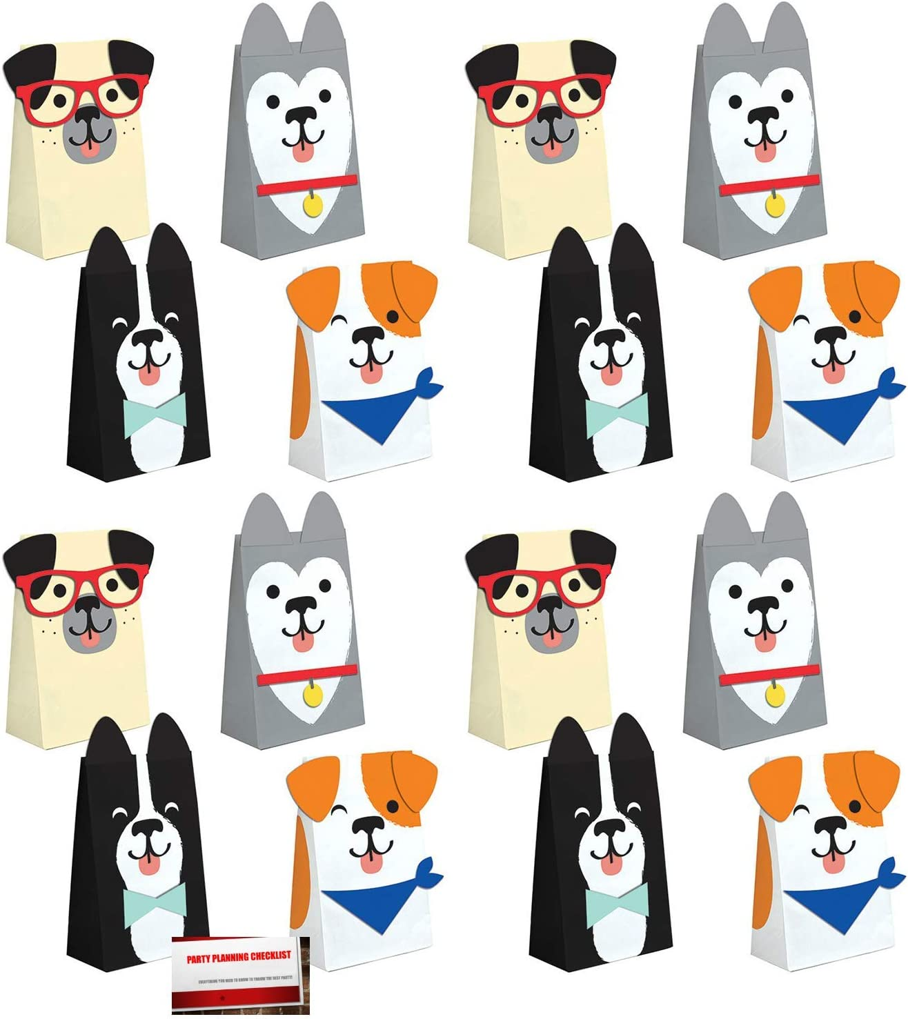 Creative Converting /& MSS Puppy Dog 16 Pack Party Paper Loot Treat Candy Favor Bags with Attachments Plus Party Planning Checklist by Mikes Super Store