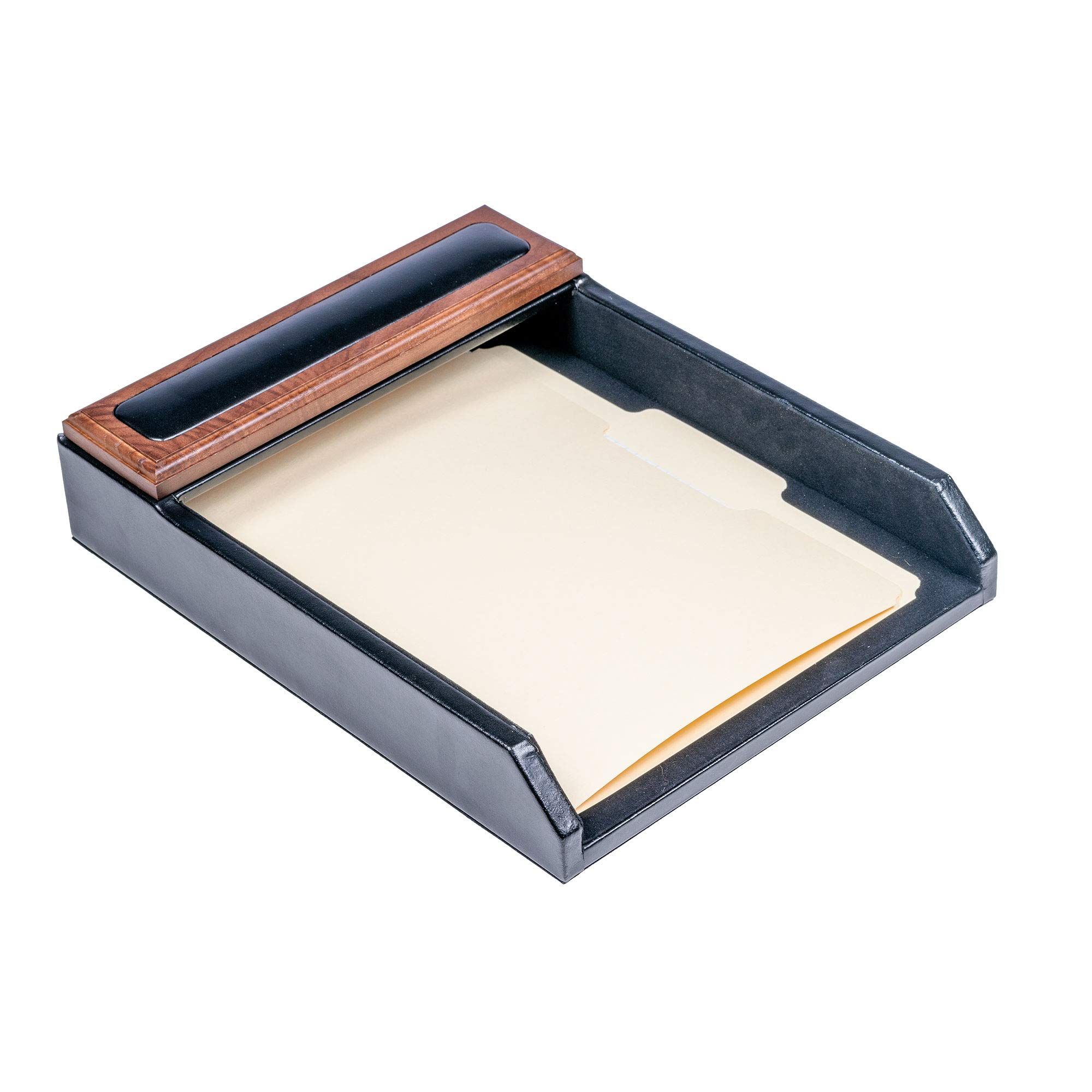 Dacasso Walnut and Leather Letter Tray by Dacasso