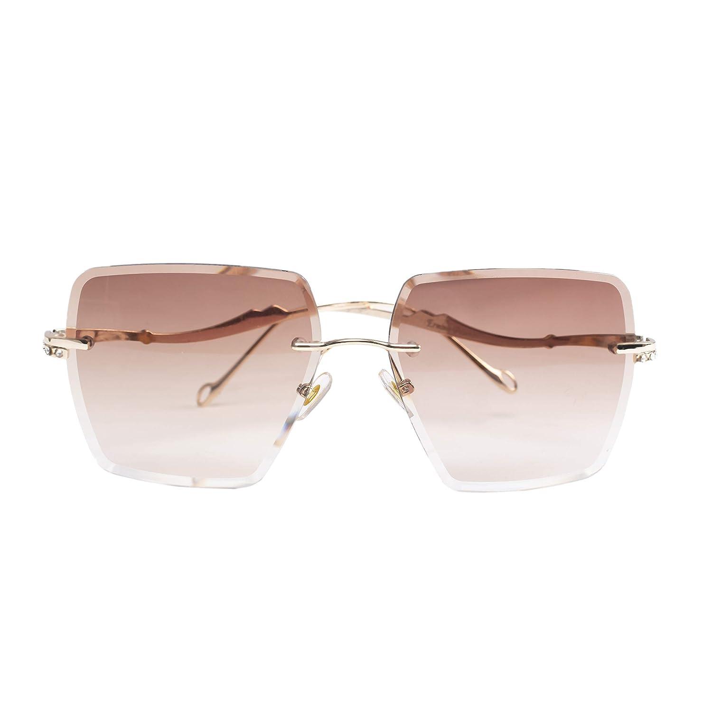Erminio Palamino Designer Rimless Diamond Cut Sunglasses for Women