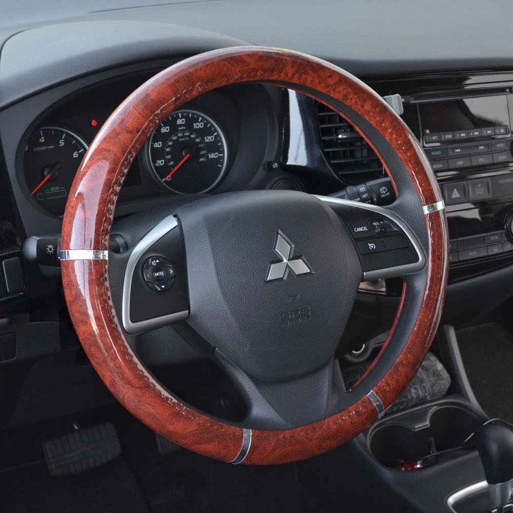 Universal 14.5-15.5 SW-238-WD BDK Woodgrain Pattern Dark Wood Steering Wheel Cover