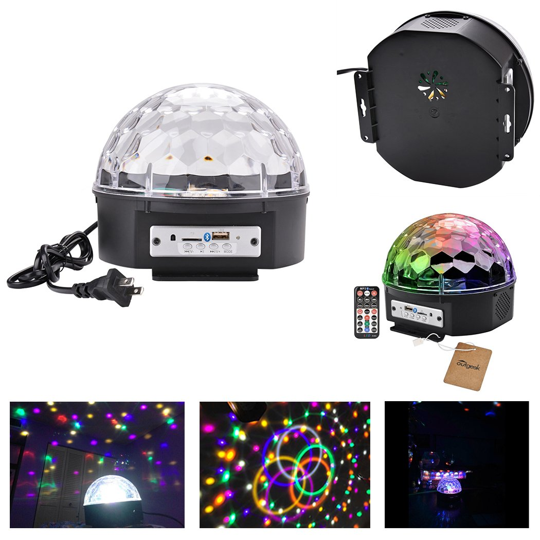 Outgeek Dj Lights 9 Color Led Bluetooth Stage Rotating 038 Flashing 230v Lighting Crystal Magic Ball Light Sound Activated With Remote