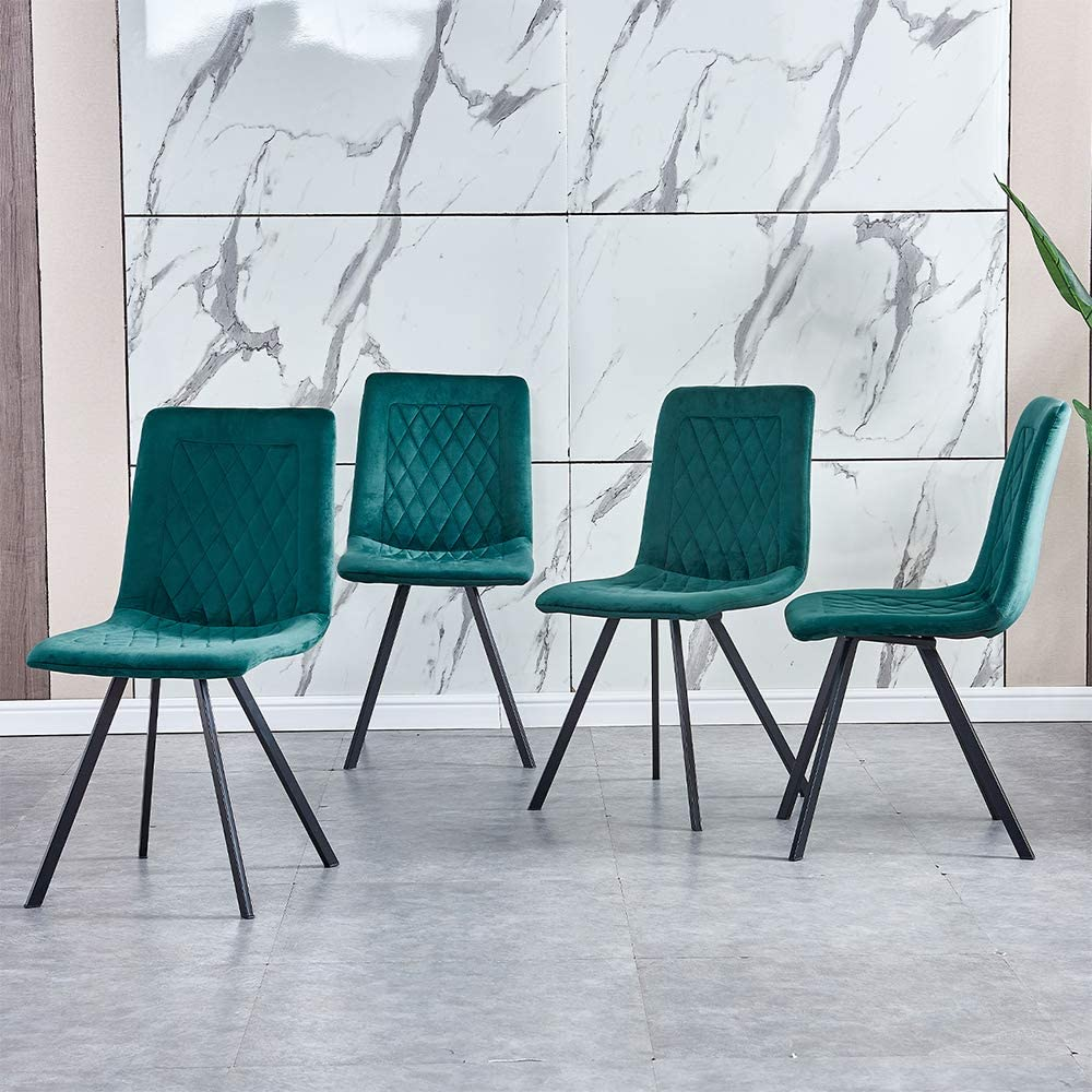 Homesailing Eu Modern Green Dining Chairs Velvet Fabric Upholstered Kitchen Chair Velvet Cover Padded Chair With Sturdy Black Metal Legs For Kitchen Restaurant Cafe Lounge Set Of 4 Amazon Co Uk Kitchen Home
