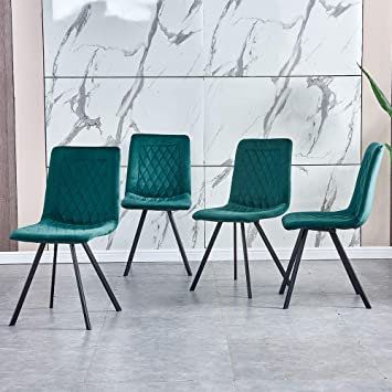 Amazon Com Homesailing Contemporary Emerald Green Velvet Kitchen Dining Chairs Set Of 4 With Comfy Upholstered Padded Seat With Metal Legs Occasional Office Conversational Reception Chairs For Party Table Chair Sets