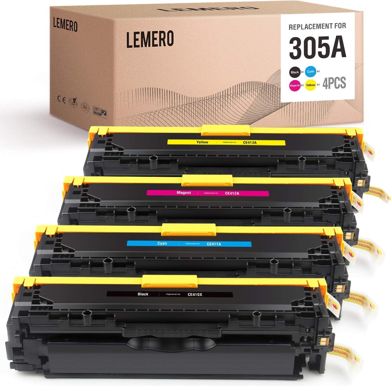 LEMERO Remanufactured Toner Cartridge Replacement for HP 305A 305X CE410X CE411A CE412A CE413A - for HP Laserjet Pro 300 Color MFP M375NW Pro 400 Color M451DN M475DN M451DW M475DW M451NW (4 Pack)