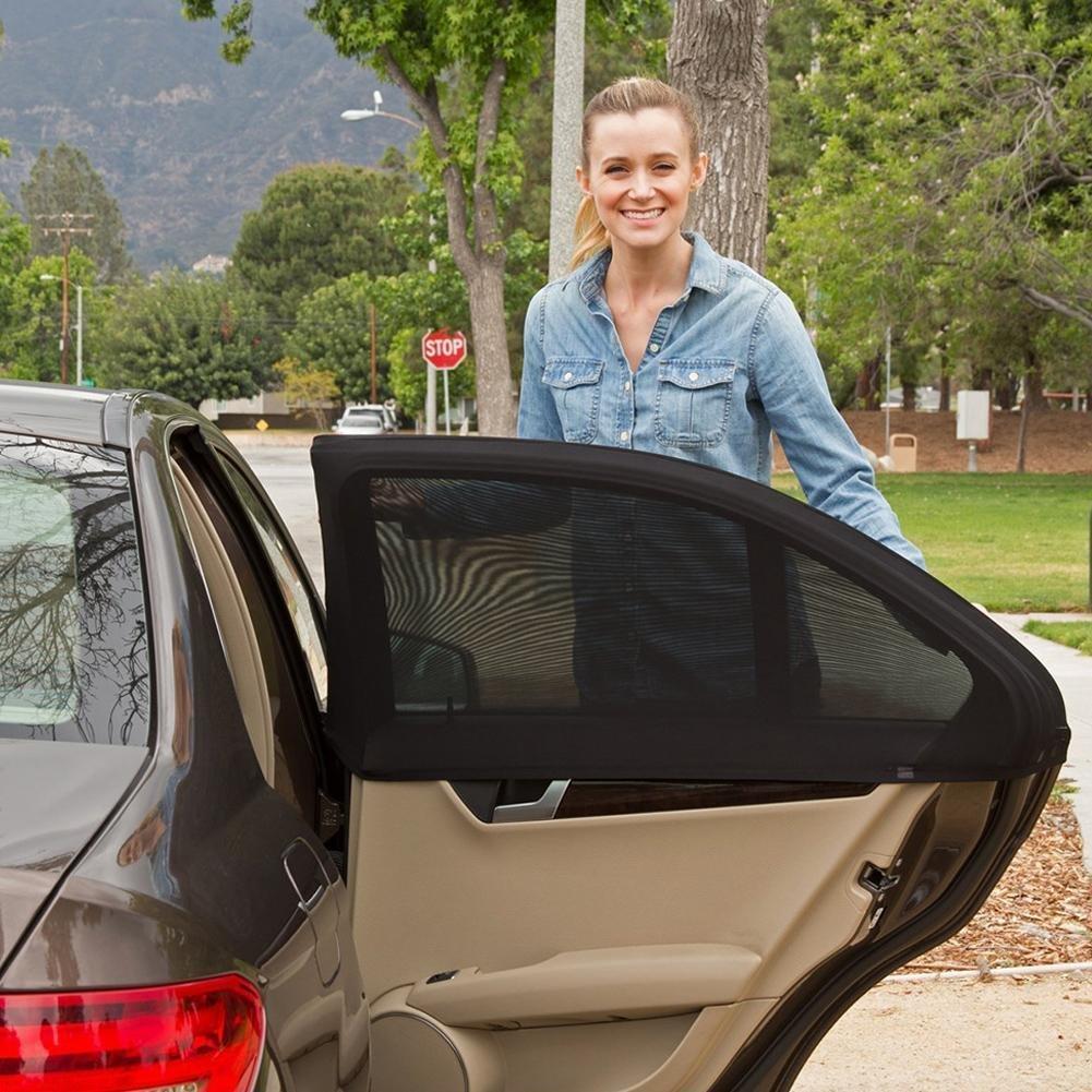 MAZIMARK--1 Pair Adjustable Auto Window Mosquito Net Sun Shades Car Camping Outdoor