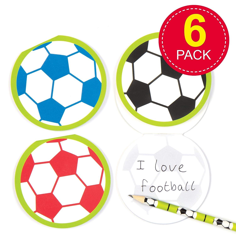 Juego Escolar de Cuadernos de Notas con Motivos de fútbol para niños Bolsas Sorpresa o como Regalo para niños (Pack de 6).