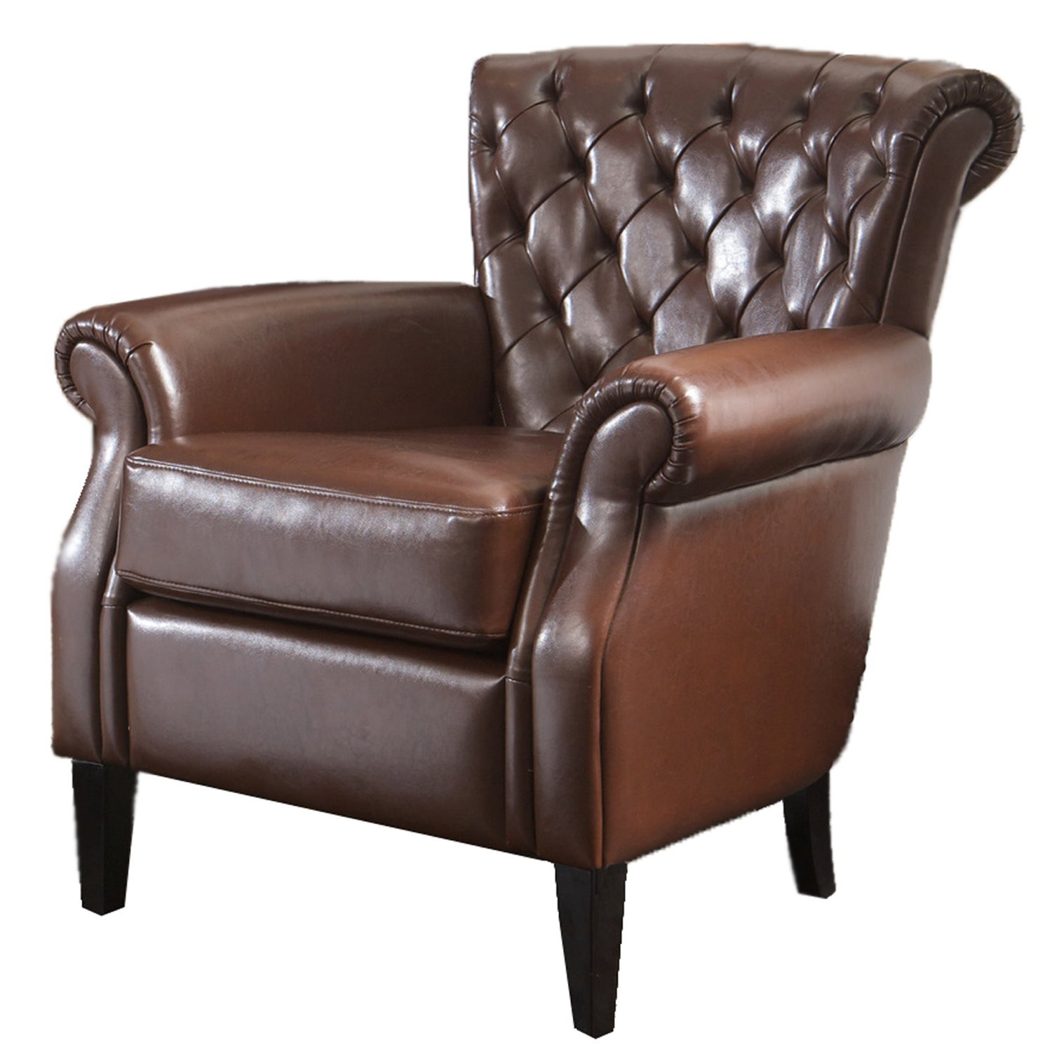 Amazon Best Selling Franklin Bonded Leather Club Chair Brown