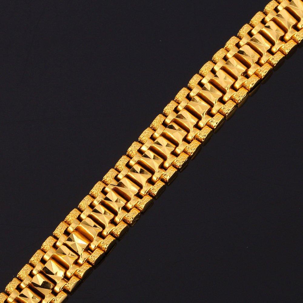 U7 Men Wrist Chain Bracelet 18K Gold Plated 12mm Wide Link Bracelets 21CM by U7 (Image #5)