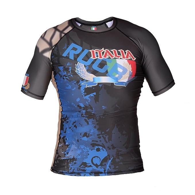 Italia Rugby Manga Corta Camiseta De Neopreno Camiseta Durabilidad & Rivalidad Compresión Camiseta Rugby Ropa Deportiva