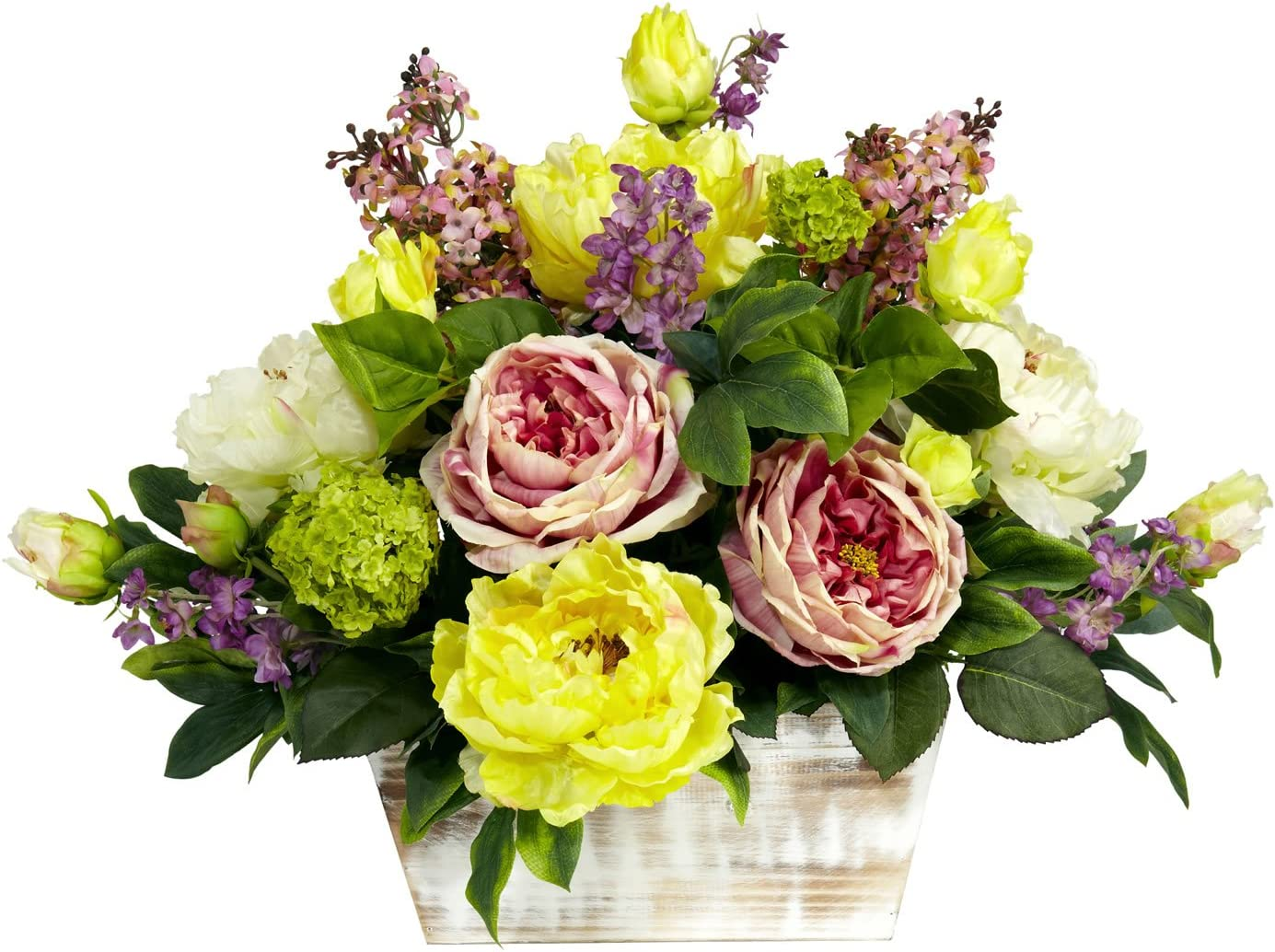 Nearly Natural 1258 Mixed Floral With White Wash Planter Silk Flower Arrangement Assorted Large Home Kitchen