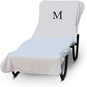 Luxury Hotel & Spa Monogrammed Pool Chaise Lounge Cover, Block Letter Embroidered Towel - Extra Absorbent 100% Turkish Cotton- Soft Terry Finish - Hotel-Style, Standard Size - White - Black Letter M