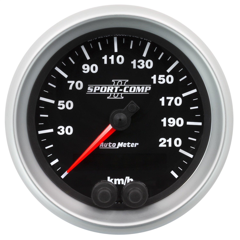 Auto Meter AutoMeter 3680-M Gauge Speedometer 3 3//8 225Km//H GPS Sport-Comp Ii 3 3//8