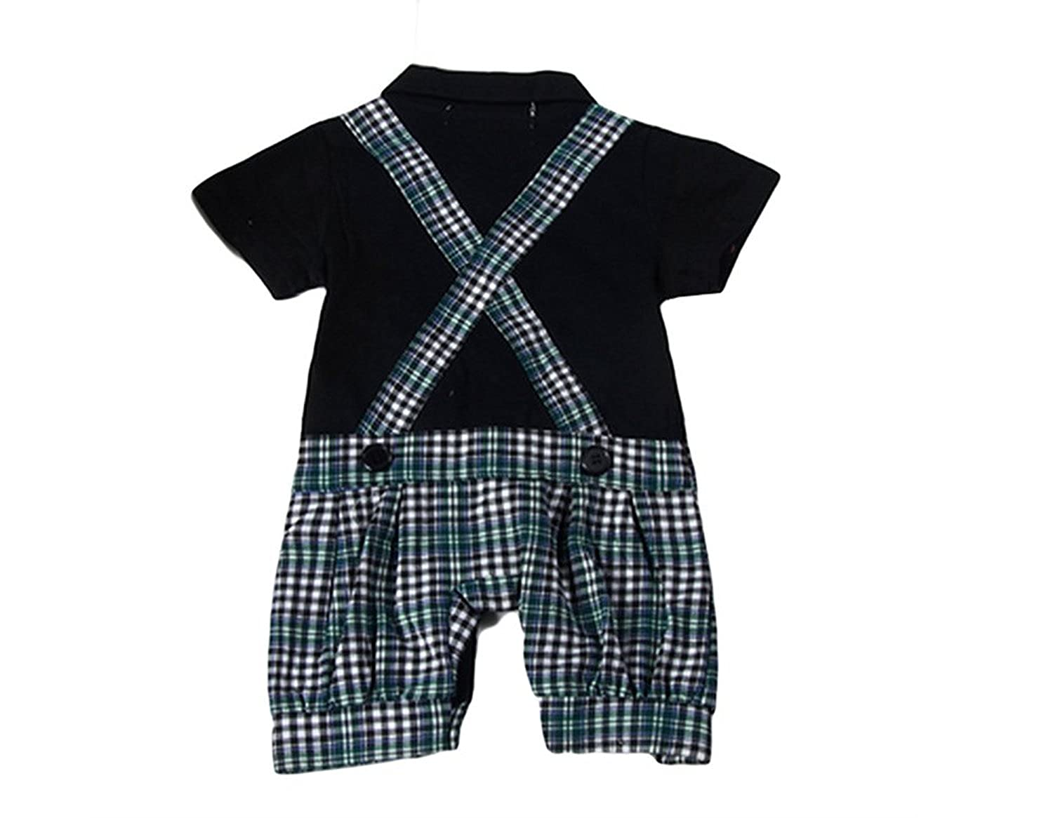 Baby Boys 1 Piece Plaid Button Down Romper Onesie Costume Photo Prop Outfit