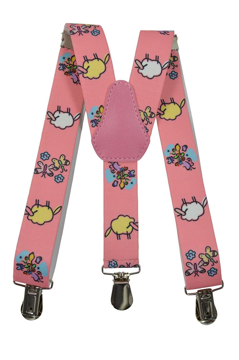 Childrens 1-5 Years Elasticated Clip on Braces / Suspenders with Sheep Design KIDSBRACESJsheep-grey