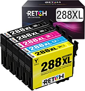 RETCH Remanufactured Ink Cartridge Replacement for Epson 288 XL 288XL T288XL T288, Used with Expression Home XP-440 XP-446 XP-430 XP-330 XP-340 XP-434 (5Pack)