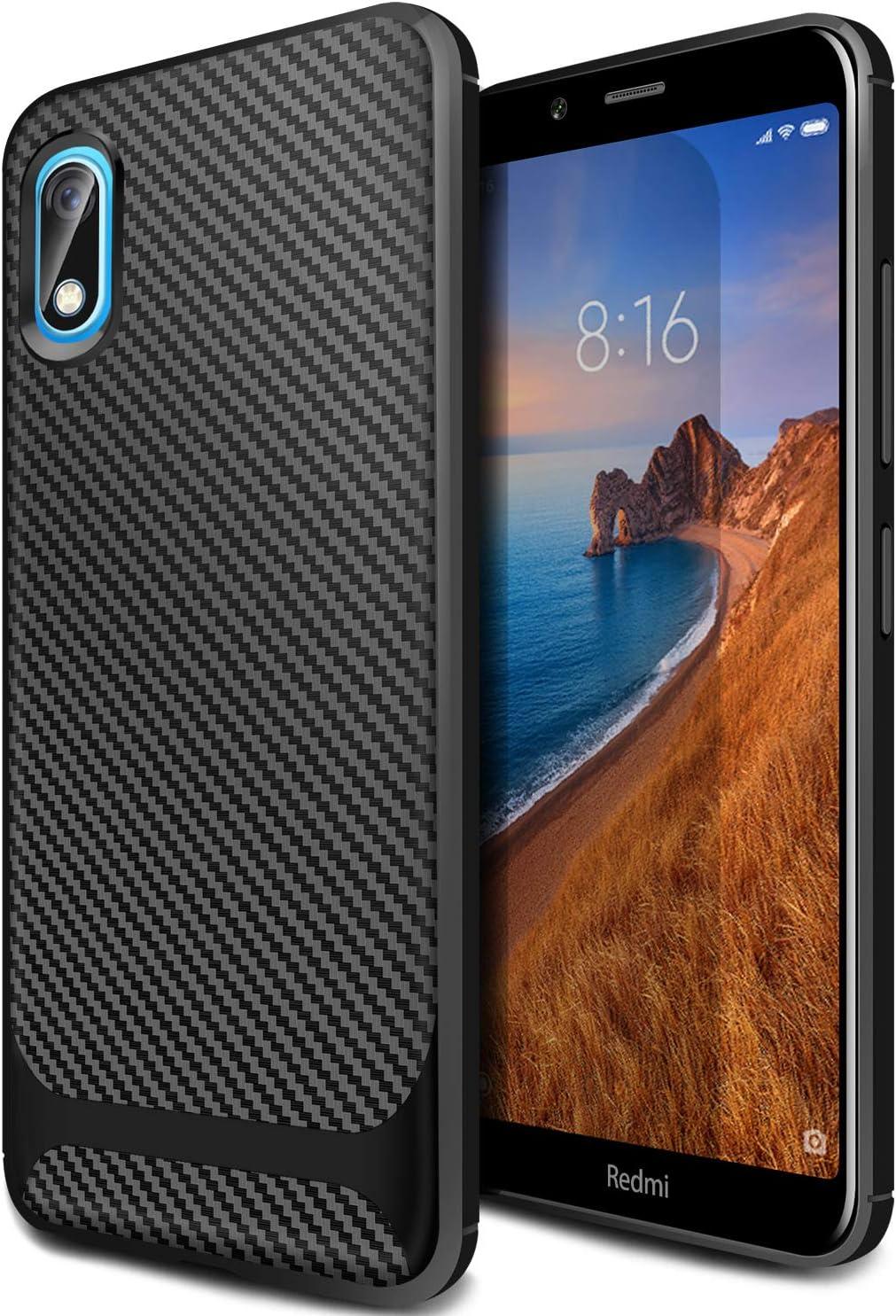 AROYI Funda Xiaomi Redmi 7A, Carcasa Silicona Fibra de Carbono TPU ...
