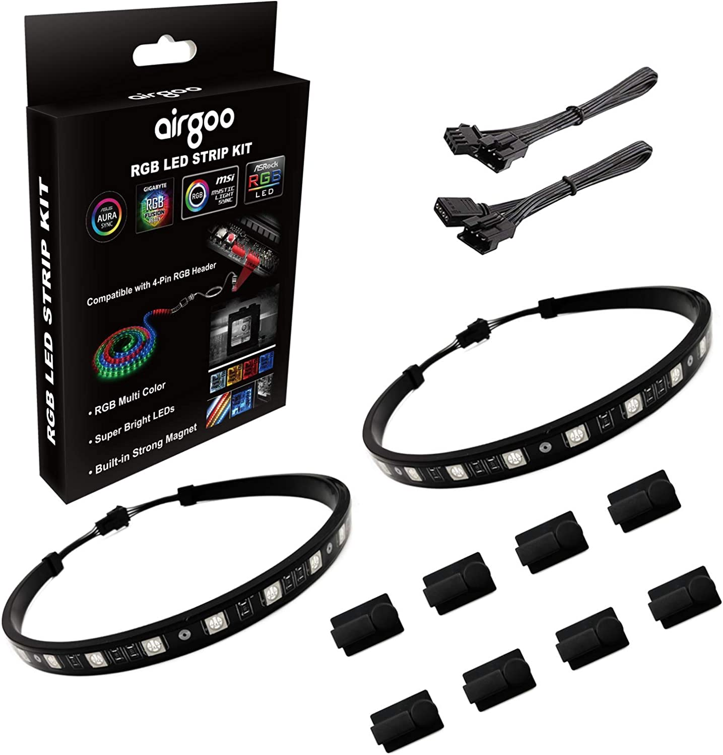 PC RGB LED Strip Light, Easy Install with 8pcs Strong Magnetic Clips, Black Silicone Housing 2PCS Strips 42LEDs for 12V 4-Pin RGB LED Header, ASUS Aura RGB, MSI Mystic Light, Gigabyte RGB Funsion M/B