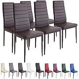Albatros Milano - Set de 6 sillas de Comedor, Estructura metálica y Piel sintética, Estilo Italiano, marrón (2701)