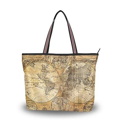 Uhoney extra large handbags for women vintage world map fashion uhoney extra large handbags for womenvintage world mapfashion design lightweight shoulder tote gumiabroncs Images