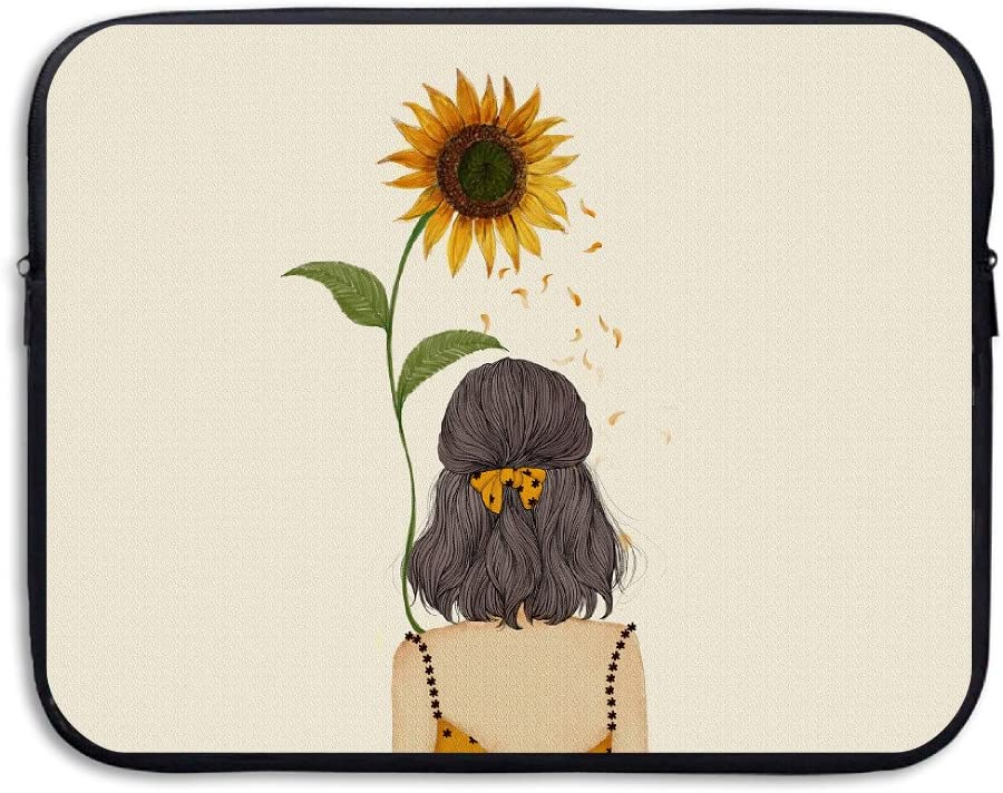 Waterproof Laptop Sleeve Case Sunflower Girl Back Pattern Ultrabook Sleeve Bag for 15 Inch MacBook Pro Air Asus Hp Samsung Sony