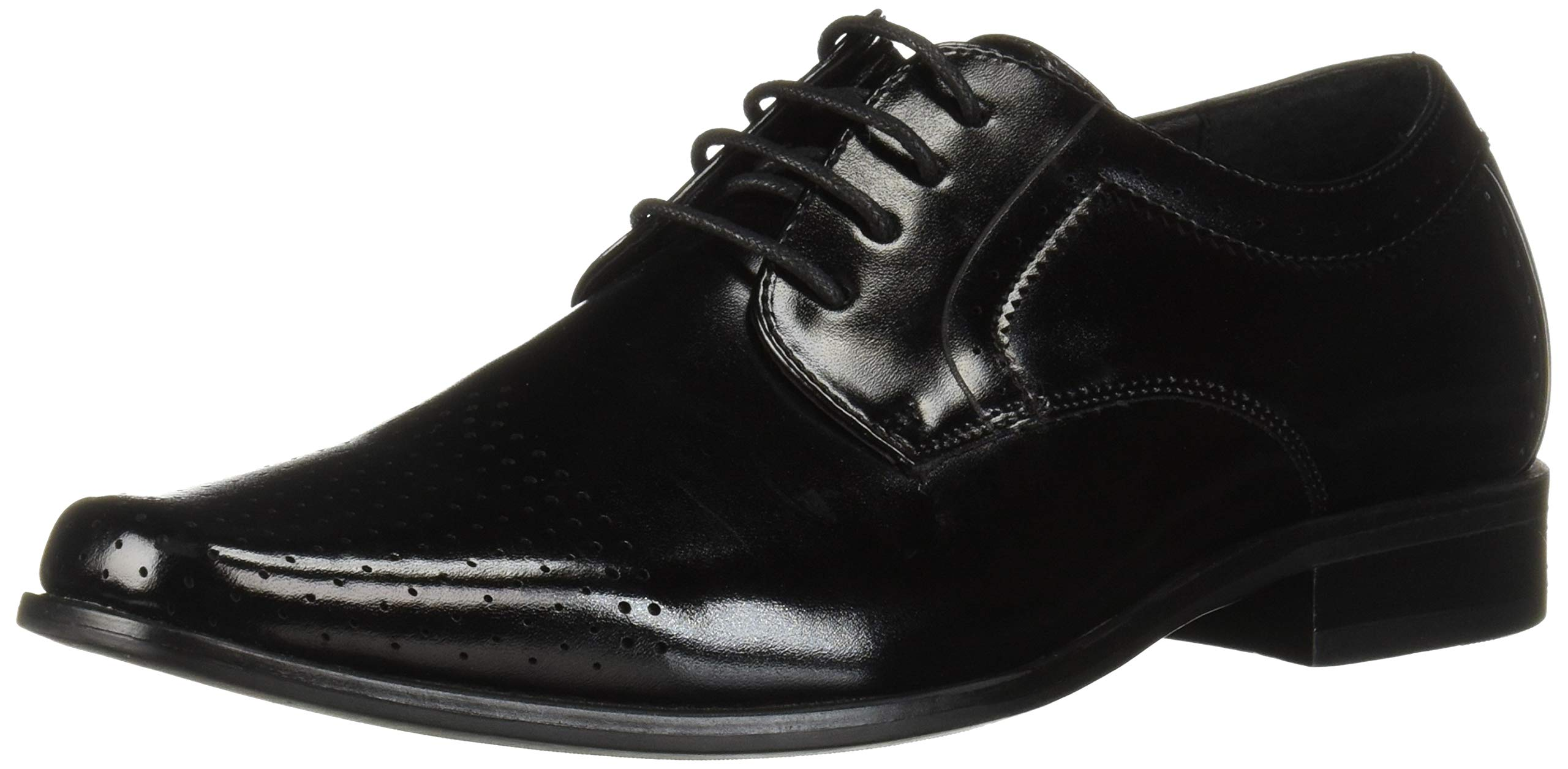 STACY ADAMS Unisex Sanborn Perfed Cap Toe Lace-Up Oxford, Black 4.5 M US Big Kid