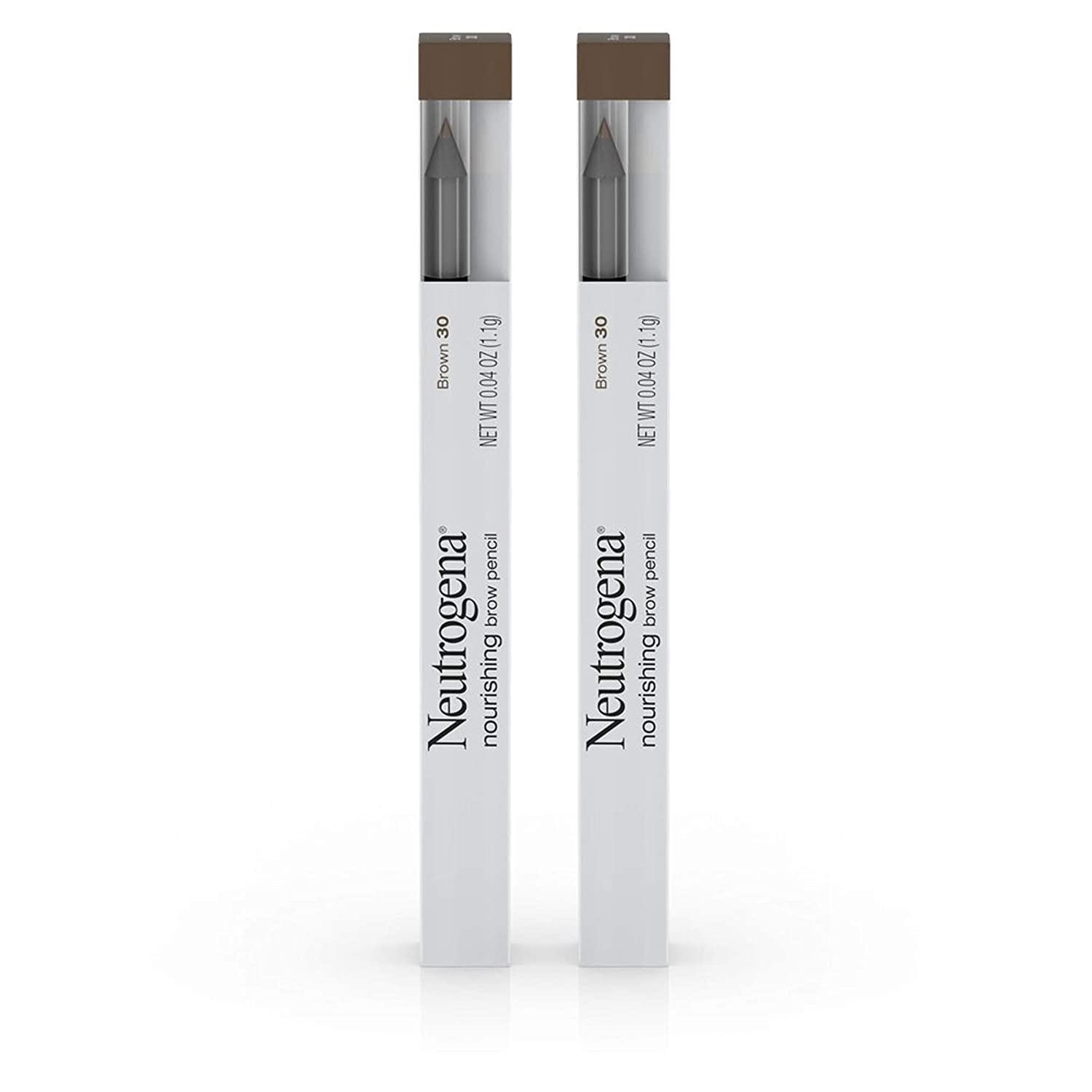 Neutrogena Nourishing Eyebrow Pencil with Spoolie Brush, 2-in-1 Eyebrow Filler In Shade Brown 30, .04 oz (Pack of 2)