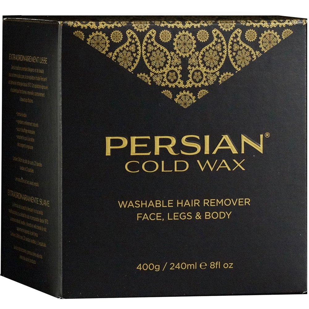 Persian Cold Wax Kit, Sugar Wax for Hair Removal Waxing Fine to Medium Hair Types Body, 8oz (240 ml) wax pot, 20 fabric strips, 2 spatulas