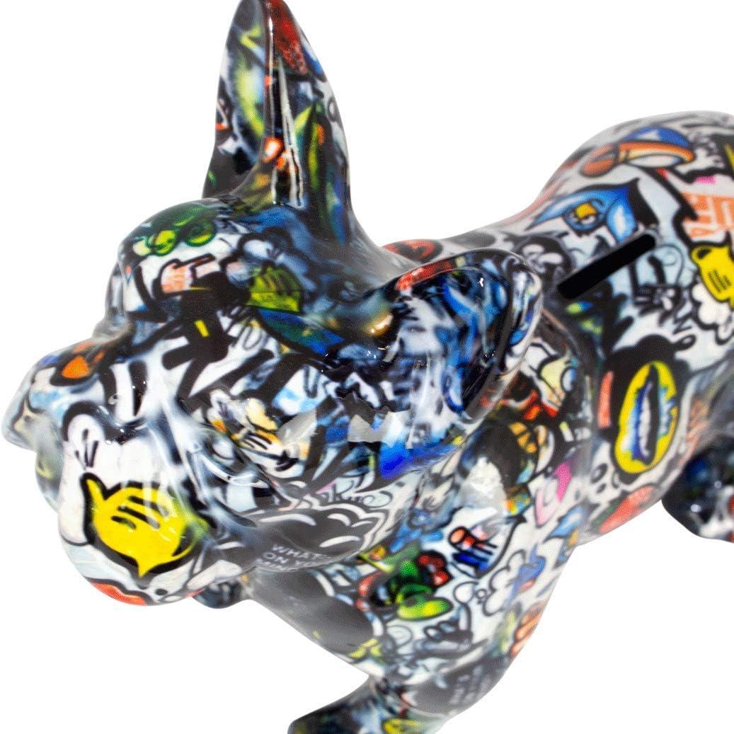 Pomme Pidou Tirelire XL Bodhis Big Jack Tirelire Bouledogue fran/çais Chien Grafitti Grand Originale en c/éramique London Cadeau Unique avec bo/îte-Cadeau Gratuite