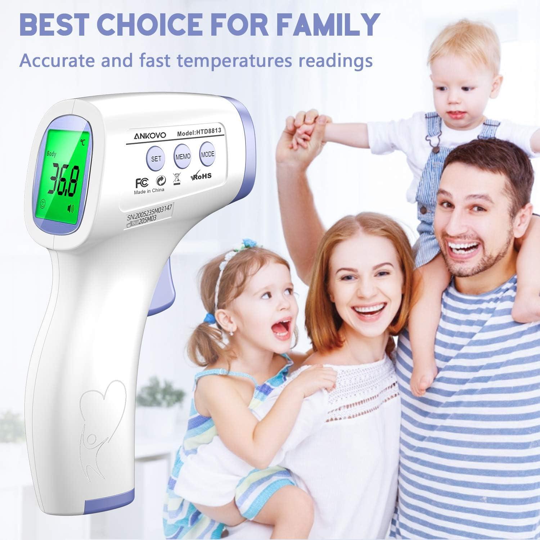 Term/ómetro Digital Sin Contacto para la Frente con Lectura Precisa Instant/ánea y Alarma de Fiebre Memoria para Ni/ños Term/ómetro para Adultos y Beb/és Beb/és Uso en Interiores y Exteriores