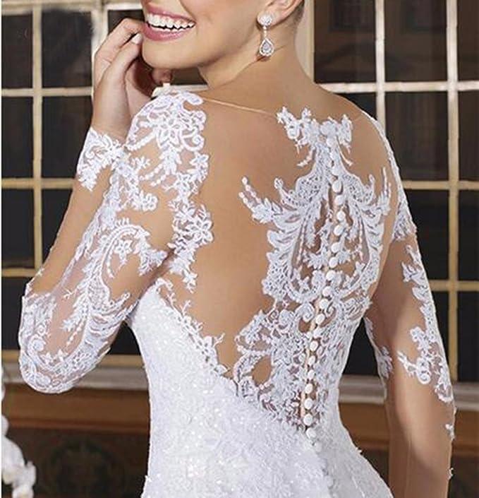 Udresses Vintage Vestidos de Novia Mermaid Long Sleeve Sheer Lace Wedding Dresses with Ruffled Skirt Z4 at Amazon Womens Clothing store: