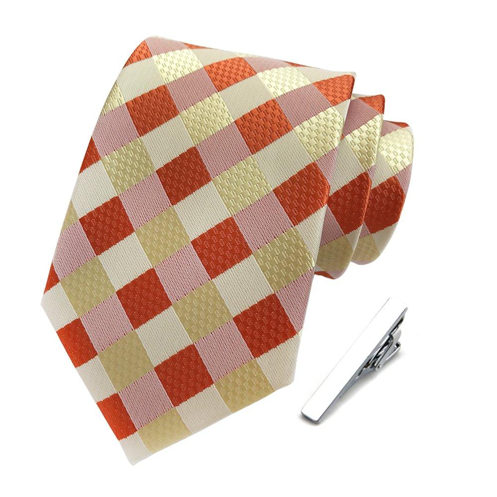 Neckties for Men Business Suits Classic Plaid Tie + Tie Clips Set