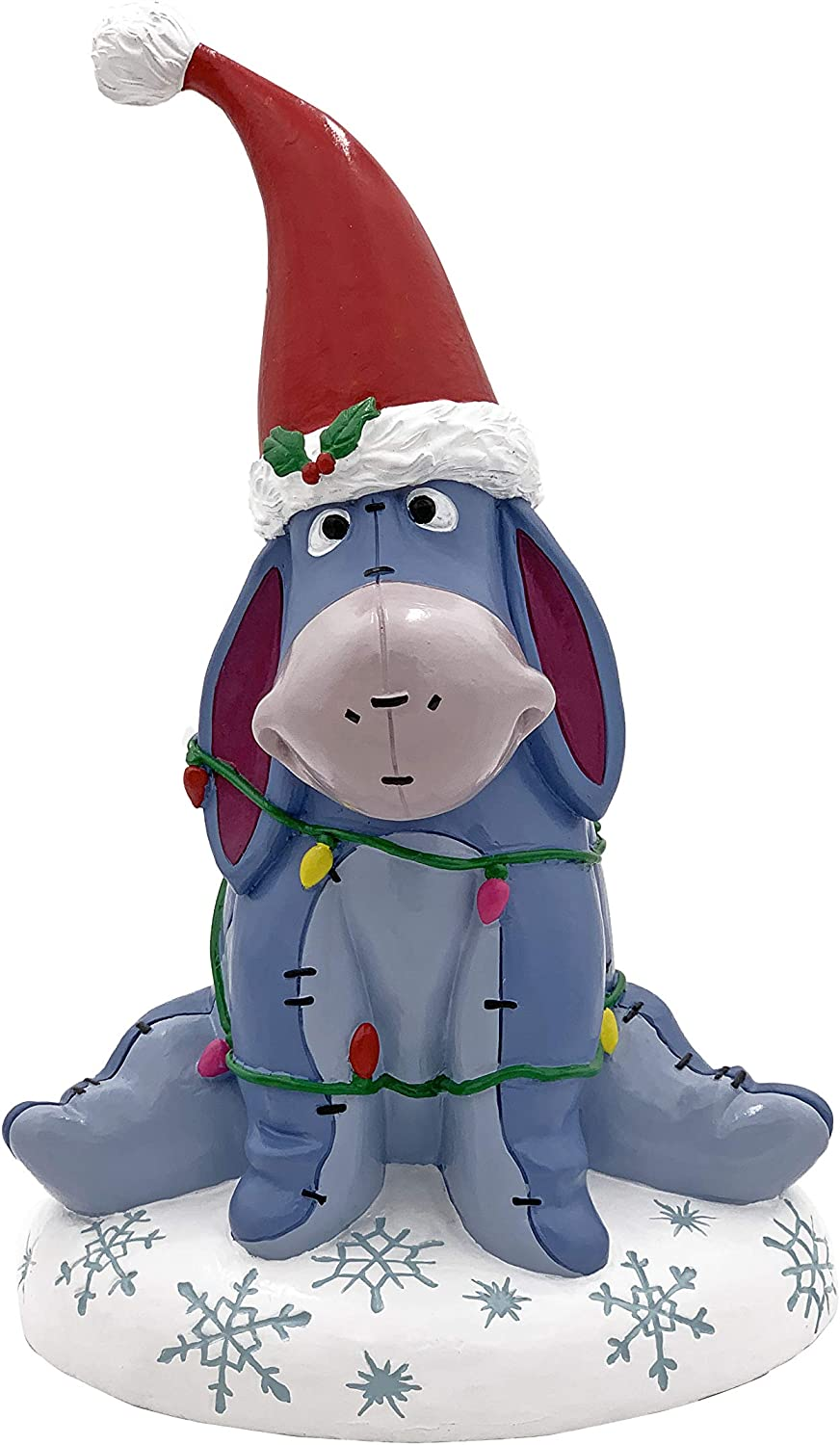 Disney Eeyore of Winnie The Pooh Wrapped in Christmas Lights Garden Statue, Stands 10 Inches Tall and 7 Inches Wide.