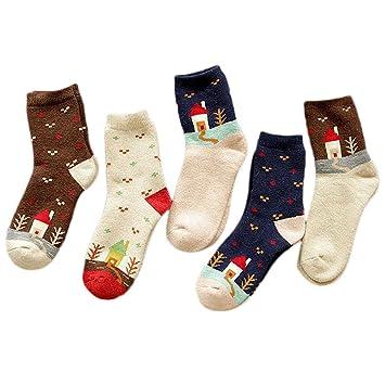 Calcetines de Mujer, Fascigirl 5 Pares de Calcetines de Invierno Multicolor Calcetines Térmicos Transpirables para