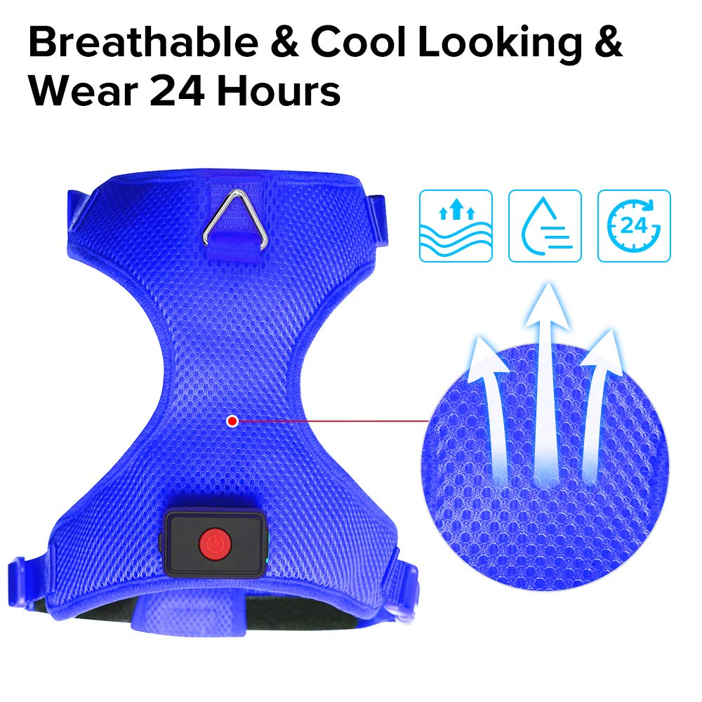 Domi LED Dog Harness, USB Rechargeable, No Pull Pet Vest Harness with Comfortable Padded Suit for Small/Medium/Large Dog (S, Blue)
