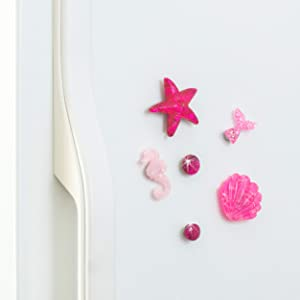 Refrigerator Magnets - Sparkly Decorative Fridge Magnet Set - 6 Fridge Magnets for Cabinets, Whiteboards & Lockers - Colorful Magnets for Gift, Home Decor & Practical use - Marine Fuchsia