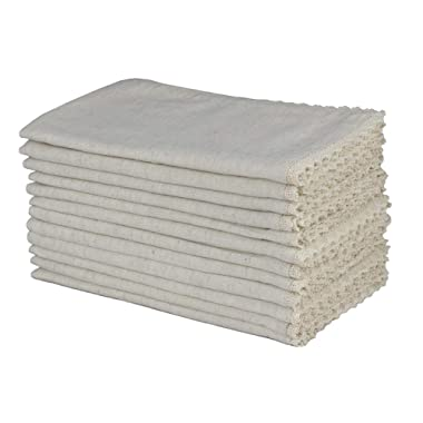 Cotton Craft - 12 Pack Oversized Flax with Lace Dinner Napkins - 20x20 Natural, Tailored with Mitered Corners and a Generous Hem, Napkins are 38% Larger Than Standard Size Napkins