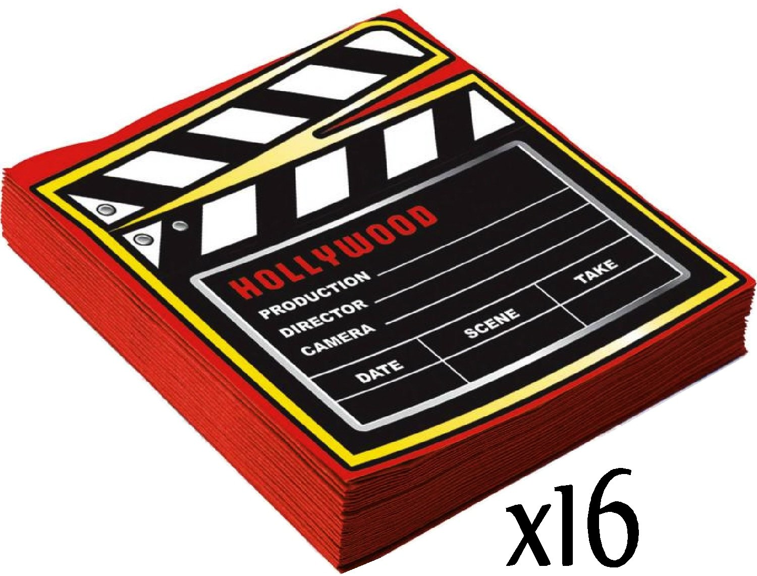 Includes 16 Large Plates 16 Small Plates Perfect for Movie Night or Birthday 16 Cups /& 2 Table Covers 16 Napkins HollywoodAt The Movies Theme Party Supplies Pack for 16 People