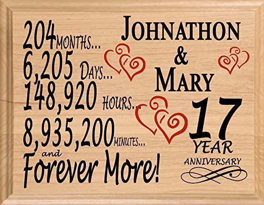 Amazon Com Broad Bay 17th Personalized 17 Year Anniversary Wedding Gift For Wife Husband Couple Him Her Home Kitchen