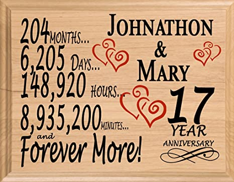 Amazoncom Broad Bay 17th Personalized 17 Year Anniversary Wedding