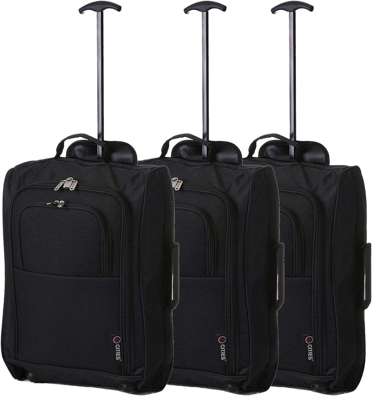 """Juego de 3 21""""/55cm 5 Cities Cabina Aprobada de equipaje de mano de peso ligero Trolley Bolsas Para Ryanair / Easyjet (Negro)"""